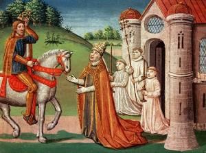 Charlemagne til hest, med pave